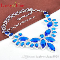 925 sterling silver plated women Blue Citrine color natural stone necklace Jewelry N0568