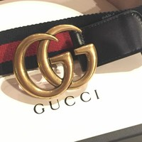 Gucci Marmont Mens Nylon Web Belt GG Gold Buckle Red Blue 85/34 US 31 32