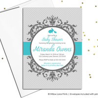 Gender neutral baby shower invite with bunnies, unique baby shower invitation, gray and turquoise, polkadots, DIY printable or printed (790)