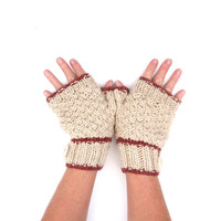 Womens Winter Warmers , chunky cream fingerless gloves / hand warmers - striped with ceramic buttons feature - OOAK
