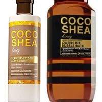 2 SET Bath & Body Works COCO SHEA HONEY Body Lotion / Bubble Bath