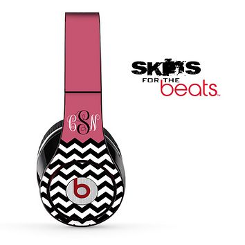 Pink White and Black Chevron Custom Monogram Pattern Skin for the Beats by Dre Solo, Studio, Wireless, Pro or Mixr