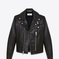 Saint Laurent Straight Motorcycle Jacket In Black Leather | ysl.com