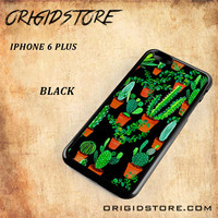 Cactus Black Pattern For Iphone 6 Plus Case - Gift Present Multiple Choice