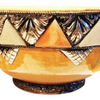 Moroccan Ceramic Decorative Accent Bowl with Metal and Bone Detail