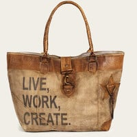 Leather & Canvas Live Work Create Tote Bag