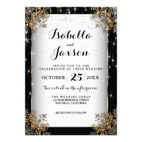 Elegant Starry Night Wedding in Black and Gold Card