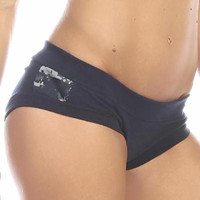 Sexy Night Vision Military Navy Blue Scrunch Back Athletic Mini Shorts - Navy Blue/Blue