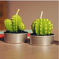 Qyz@ Green Cactus Mini Candles Romantic Creative Candles (Color2)