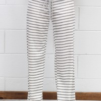 Striped Terry Lounge Pants {H. Grey}