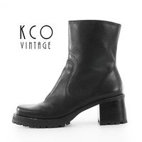 Black Platform Boots 6.5 Leather Block Heel 90's Vintage Ankle Boot / Chunky Chelsea Minimalist Goth Made in Brazil US 6.5 / UK 4.5 / EUR 37