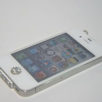 White Bling Luxary Crystal Diamond Anti Dust Dock Charger Port Plug+Ear Plug+Home Button For iPhone 4 4G 4GS iPod Touch