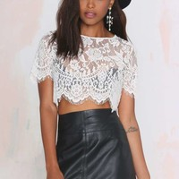 Persuasion Lace Crop Top - Ivory