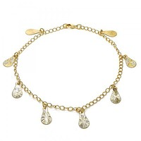 Gold Layered 04.63.1373.10 Charm Anklet , Teardrop Design, Polished Finish, Golden Tone