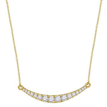 10k Yellow Gold Round Diamond Curved Bar Pendant Necklace 1 Cttw