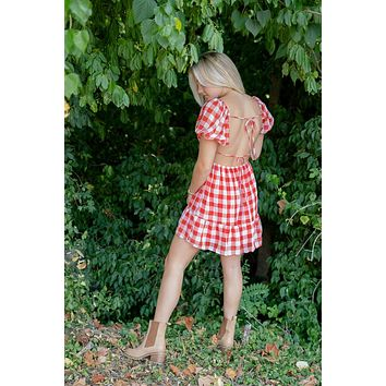 Annie Open Back Gingham Dress