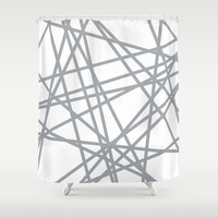 To The Edge Grey Shower Curtain by Project M