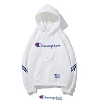Champion x Supreme Autumn Winter Fashion Print Long Sleeve Hoodie Velvet Sweater Sweatshirt White