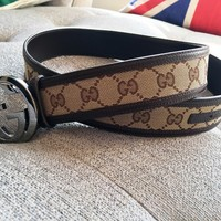 *AUTH* GUCCI GG Pattern Beige PVC Leather 85/34 Mens Belt