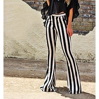 2020 new arrival women's black and white striped flared trousers