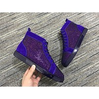 Christian Louboutin Cl Louis Strass Blue / Purple Sneakers Reference 145