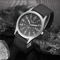 Military Army Watch Men Date Canvas Band Stainless Steel Band Sport Quartz Wrist Watch