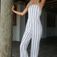 Far From Basic White & Black Stripe Jumpsuit