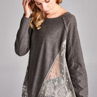 Charcoal Side Trim Lace Patch Long Sleeve