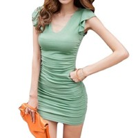 Allegra K Ruched Sleeves Double Deep V Neck Tied Back Stretch Dress