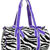 Quilted Zebra Print Girls Dance Cheer Carry On Duffel Travel Bag (Purple Trim)