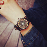 Unique Simple Lover Watches Hollow Out Black Leather Watch + Gift Box-477