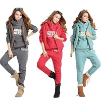 Casual 3 Piece Set Tracksuit Women Clothes 2018 Winter Ladies Thicken Sweat Suits Ropa Sport Suit Women Warm