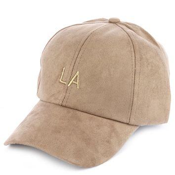 FAUX SUEDE/ MESSAGE EMBROIDERED BASEBALLHAT AND CAP LA