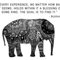 Buddha Quote with Henna Elephant Art Print by Madeline Margaret | Society6