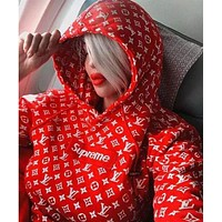 Supreme x LV Fashion Embroidered Long Sleeve Top Sweater Hoodie