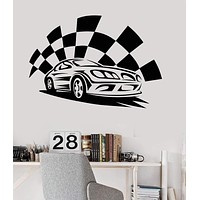 Vinyl Wall Decal Garage Sports Car Race Boys Room Stickers Mural Unique Gift (ig3340)