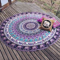 1x Indian Beach Throw Towel Yoga Mat Round Elephant Mandala Tapestry Wall Hanging Christmas Gift QD112001