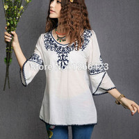 2016 new fashion cotton linen Embroidery Chinese traditional Women's blouses and shirts Vintage trend tops female free shipping