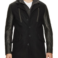 Rogue Men's Leather Detailed Wool Coat - Black -