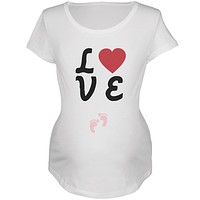 Valentine's Day Love Baby Pink Feet Womens Soft Maternity T-Shirt