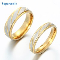 Fashion Brand Gold-Color Wedding Couple Ring Stainless Steel  Engagement Anniversary Lovers Promise Rings Gifts