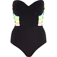 River Island Womens Black strappy bandeau swimsuit