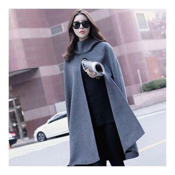 Hooded Cocoon Shape Coat Woman Middle Long Cloak  S