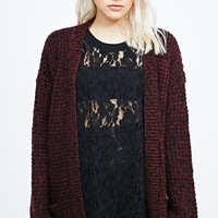 Pins & Needles Nana Grunge Cardigan in Burgundy - Urban Outfitters