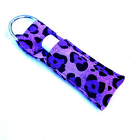Purple Leopard Print Chapstick Keychain - Lip Balm Holder Cozy