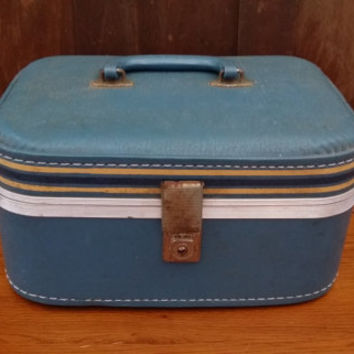 Vintage Blue Train Case Cosmetics Case With Key Great Retro Luggage