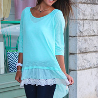 Ruffled Lace Knit Top {Sky}