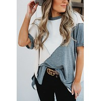 Blocked To The Top Tee (Grey/Taupe)