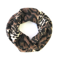 Kids Leopard Scarf Child Infinity Scarf Toddler Scarf Black Brown Tan Kid Doubleloop Scarf Baby Bib Scarf Girls Scarf Ready to Ship