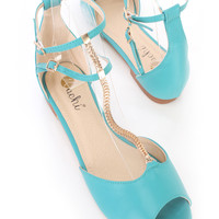 Turquoise High Polish Chain T Strap Peep Toe Ankle Strap Flats Faux Leather
